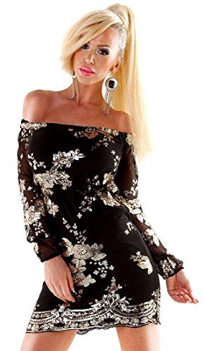 Glam Damen Cocktailkleid Dress Carmen - Black-Gold - mit Paillettenbesatz - Größe 36 - Partykleid (Folklore Kostüme)