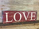 Mezzaluna Gifts Wiegemesser Geschenke Love Rustikal freistehend Oder wandhängend Holzschild