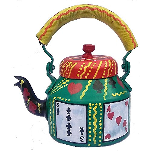 Hand painted Designer Tea Kettle From iHandikart Handicrafts (Playing Cards ) (1 Litre, 22 cm), aluminium For Home Décor Corporate Gift Purpose 5003…