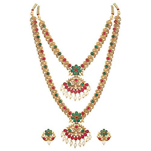 Shining Diva Fashion Latest Combo Design Pearl Necklace Set For