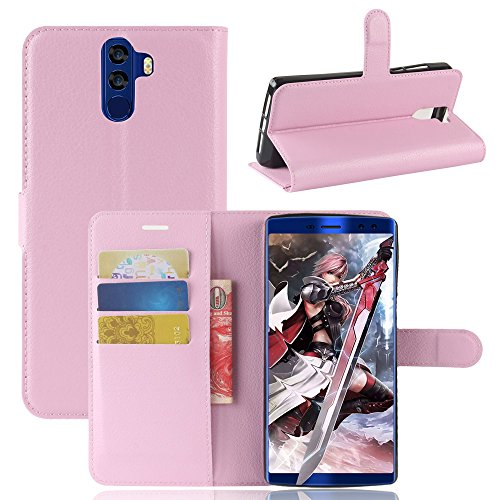 Kihying Hülle für Doogee BL12000 / Doogee BL12000 PRO Hülle Schutzhülle PU Leder Flip Wallet Fashion Geschäft HandyHülle (Pink - JFC08)