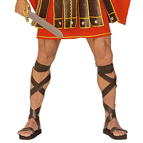 Braune Römersandalen Herren Römer Schuhe Lederoptik Gladiator Römerschuhe Centurion Römische Gladiatorschuhe Gladiatoren Sandalen Grieche Antike Mottoparty Accessoires Karneval Kostüm (Sandalen Herren Kostüm Gladiator)
