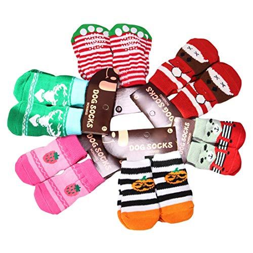 NoyoKere 4pcs Calcetines Antideslizantes pequeños Protectores de la Pata del Perro Cachorros Gato Calcetines