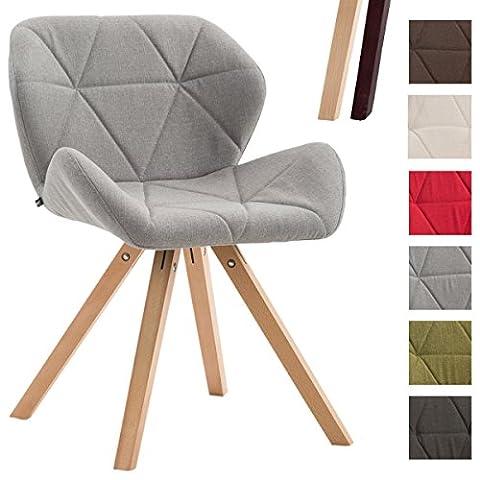 CLP Design Retro-Stuhl TYLER, Bein-Form square, Stoff-Sitz gepolstert, Buchenholz-Gestell, Hellgrau, Gestellfarbe: (Stoffbezug Für Stühle)