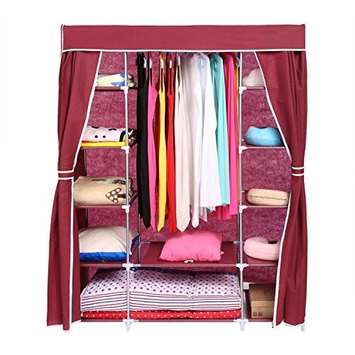 Homdox Kleiderschrank Stoff Stabil Stoffschrank Kleiderschrank Stabil Faltschrank Stoffkleiderschrank Wäscheschrank Campingschrank in 3 Farbe (Scarlet)