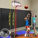 Impianto da Basket - Portatile, con Ruote, Altezza Regolabile 1,13-2,36 m, da Esterno, Riempibile con Acqua o Sabbia - Canestro da Basket con Colonna