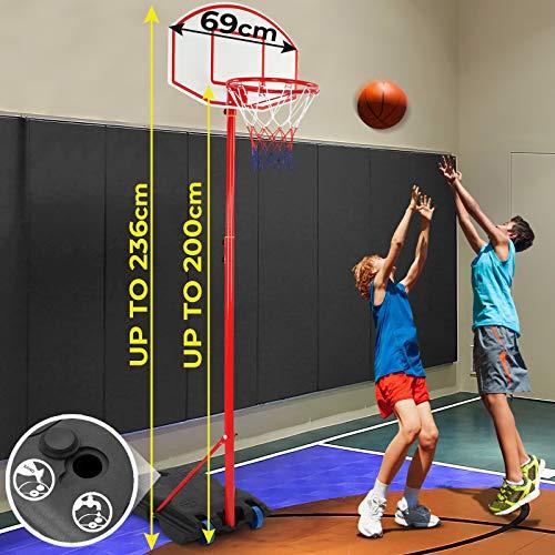Panier de Basket sur Pied - Hauteur Réglable 113-236 cm, avec roulettes, pour Enfants et Adolescents, Extérieur et Intérieur - Panneau de Basketball