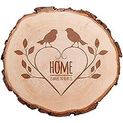 Rodaja de madera grabada - Home Is Where The Heart Is - Decoración de puertas o de paredes - Regalo para hombres y mujeres - Regalo de San Valentín y de boda - Regalos de amor - Motivo Pájaros