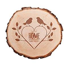 Idea Regalo - Casa Vivente - Fetta di Tronco d'Albero con Incisione per Coppie - Motivo Passeri - Home Is Where The Heart Is - Targa da Porta - Decorazione - Regalo per Coppie - San Valentino - Anniversario