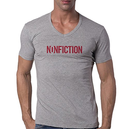 Nonfiction Red Letters Happy Birthday Party Present Graphic Design Sign Majestic Herren V-Neck T-Shirt Grau