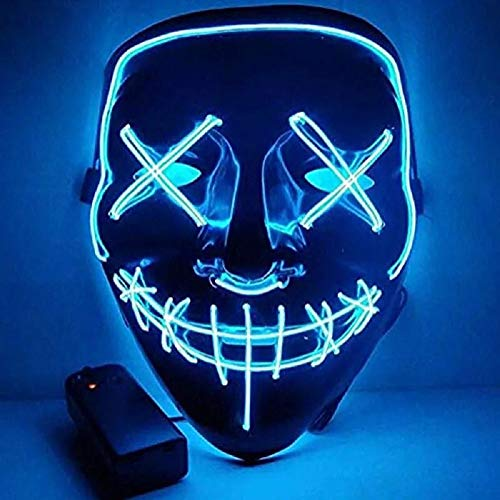 CICADAS Halloween LED Máscara,Purga Máscara,Luz Máscara,Cosplay Máscara con 3 Modos de Flash para Halloween Carnaval Carnaval Fiesta de Disfraces Decoración de Cosplay (Azul)