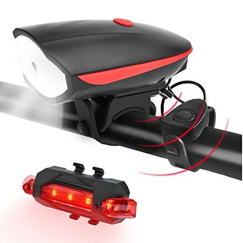 Bedeckt Knopf Vorne (LED Fahrradbeleuchtung Fahrradlicht Set, USB Wiederaufladbare Fahrradlampen Front- & Rücklicht mit Fahrradklingel Hupe für Sicheres Radfahren)