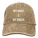 Osmykqe Mein Boot Meine Regeln Washed Retro Einstellbare Cowboy Cap Bill Cap für Damen und Herren XC7791