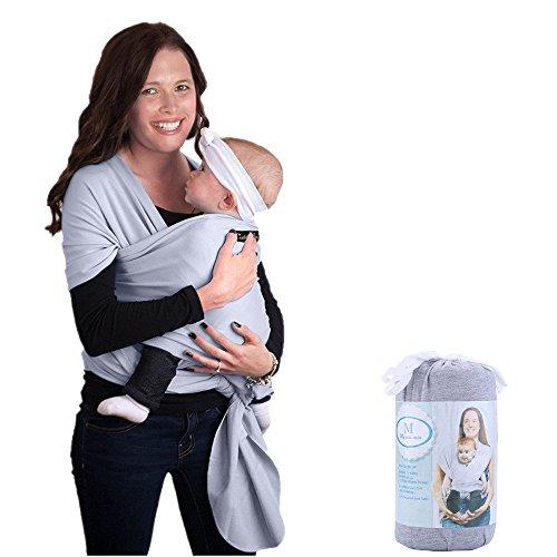 Fular portabebés, ZOGIN portador de bebé para recién nacidos, bebés y niños con material de algodón y spandex, color gris claro