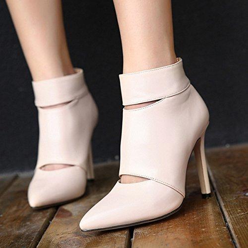 YMXJB Talons femmesA botte de Lady creux haut talon sandales mode apricot