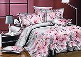 AmeliaHome 91623 Bettwäsche 135x200 cm mit 1 Kissenbezug 80x80 Bettwäscheset Bettbezüge Microfaser Bettwäschegarnituren Reißverschluss Blume Blumen Blumenmuster Lydia silber grau rosa