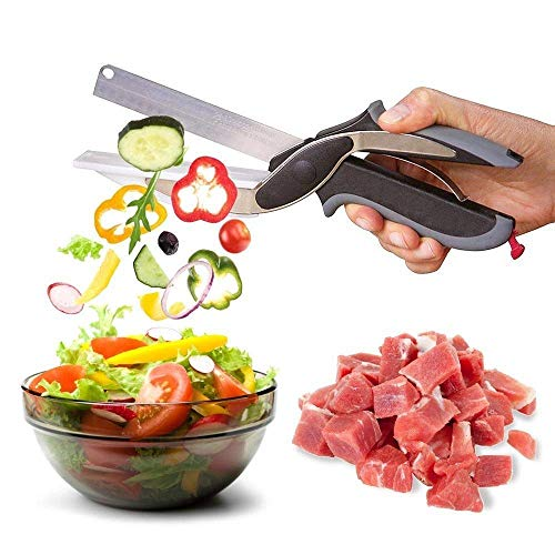 HK MART 2 in 1 Food Chopper Multi Function Kitchen Vegetable Scissors Cutter Kitchen Knife with Spring Action - Cutter Comes with Locking Hinge