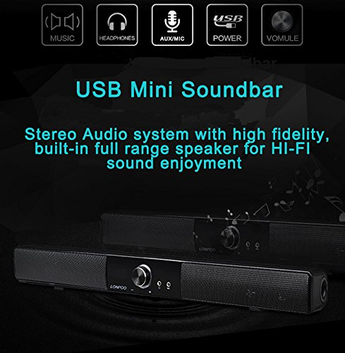 LONPOO-10W-Mini-Soundbar-Altoparlante-USB-Per-computer-desktop-laptop-PC-per-TV-iPhone-6S-Nero