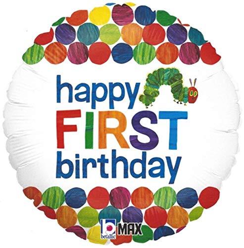 Betallic Eric Carle 18 runde Folie zum Heliumaufblasen in Grün, Blau, Orange, Rot, Gelb, Punkte und mehrfarbige Bug-Worte auf Weiß