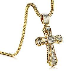 Idea Regalo - KnSam Collana Croce Crocifisso Cubana Acciaio Diamanti Uomo Gioielli Unisex con Cuban link Oro Cristallo