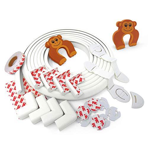 Paraspigoli bambini AIE - 5 Metri Protezione Spigoli, 8 Paracolpi Angolari. In OMAGGIO 8 Copripresa Elettriche Antiscossa + 2 chiusure di sicurezza + 2 morbido fermaporta