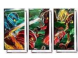 Unified Distribution Lego - Ninjago - Dreiteiler (120x80 cm) - Bilder & Kunstdrucke fertig auf Leinwand aufgespannt und in erstklassiger Druckqualität