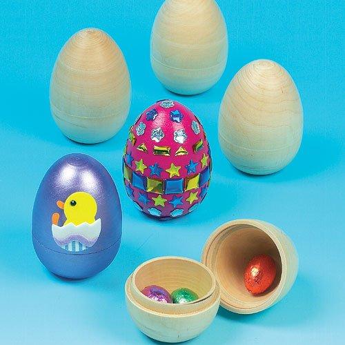 Baker Ross Zweiteilige Holzeier zum Dekorieren für Kinder und zum Befüllen mit Süßigkeiten zu Ostern - (4 Stück)