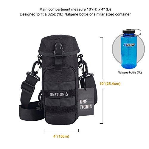OneTigris Outdoor Trinkflasche Halter 1000D Nylon Taktische MOLLE Wasserkocher Tragbar Aufbewahrungstasche mit Schultergurt (Braun) Schwarz