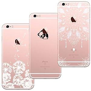 Capas para iPhone 7 e iPhone 8 de mandala, dente-de-leão e panda-gigante (3 Pack)