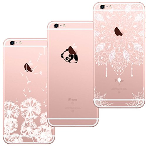 [3 Stück] iPhone 5 Hülle, iPhone 5S Hülle, iPhone SE Hülle, Blossom01 Cute Funny Kreative Cartoon Transparent Silikon Bumper für iPhone 5 / 5S / SE - Löwenzahn & Panda & Mandala