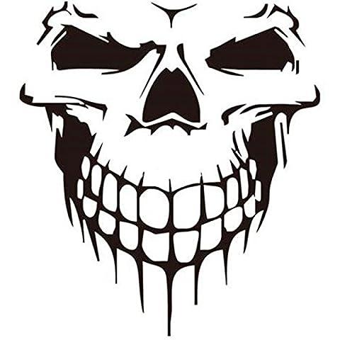 ILOVEDIY 59 X 53cm Tête de Mort Autocollant Voiture Vans Sticker Vinyle Decal pour Capot de Voiture Porte Latérale de Voiture (Noir)