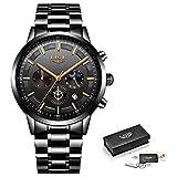 Watch-LUTEM Herren Armbanduhren Wasserdichte Luxusuhren für Männer Sport Business Casual Uhr mit Edelstahlband, Leuchtzeiger, Datums- / Sekunden- / Minuten- / 24-Stunden-Anzeige
