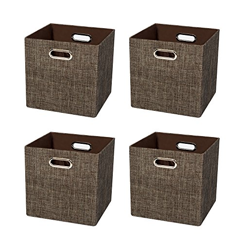 Aufbewahrungsboxen,Faltbare Aufbewahrungskörbe Aufbewahrungsbehälter Stoff Lagerung Bins für Wäsche, Büro, Schränke, Spielzeug,- aus Dickes Leinen mit Schimmer,4er-Set (Faltbare Stoff Baskets 4)