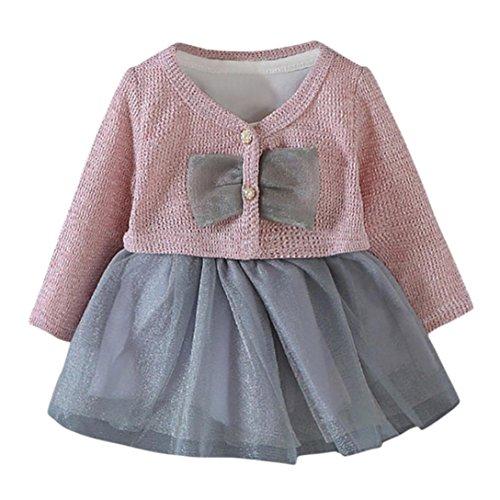 Kobay 2 Stücke Infant Kleinkind Baby Mädchen Tutu Prinzessin Kleid + Mantel Outfits Kleidung Set (S/3Monat, Rosa)