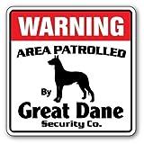 """Haussicherheitsschild von """"Great Dane"""" über patrouillierte Umgebung, Metallschild mit Hundebild zum Sicherheitsschutz für den Außenbereich, aus Aluminium"""