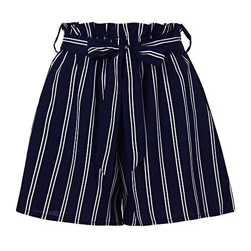 KUDICO Damen Shorts Retro Gestreifte Kurz Hose Beach Sommerhosen mit Elastischem Taillenband High Waist Sporthosen Hotpants Strandshorts(Marine, Small) -
