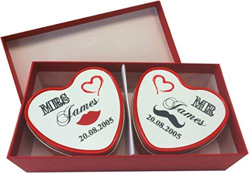 Personnalisé Mr & Mrs Mariage Lot de bougies parfumée dans boîte de présentation
