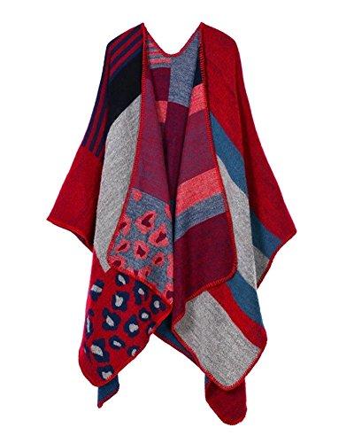 Donna Colour Block Lavorato a Maglia Poncho Capes Scialle Cardigan Invernale da Scialle Avvolgente Leopardo Rosso