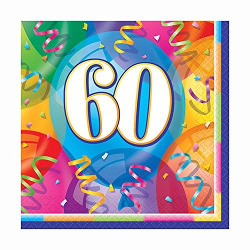 Unique Party - Tovaglioli per feste, per 60° compleanno, 16 pz