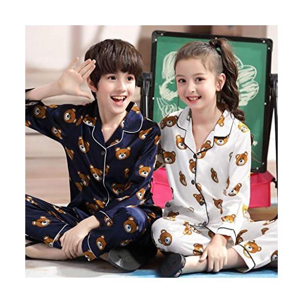 Pijama de Manga Larga para niños y niñas, de Shenye de 0 a 5 años, con diseño de Oso de Dibujos Animados y Pantalones, Pijamas 3