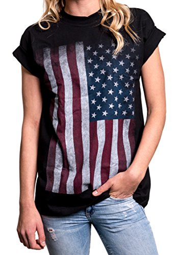 MAKAYA Damen T-Shirt mit USA Flagge - Oversize Longshirt große Größen schwarz S