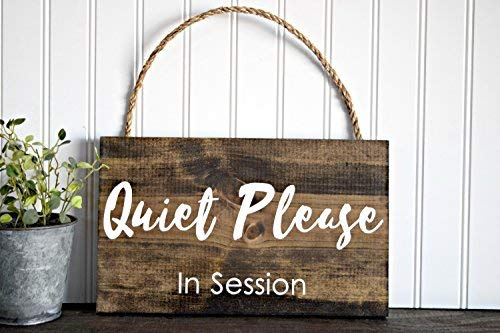 Modtory Holzschild Quiet Please In Session (englischsprachig) für Massage- und Therapieschild