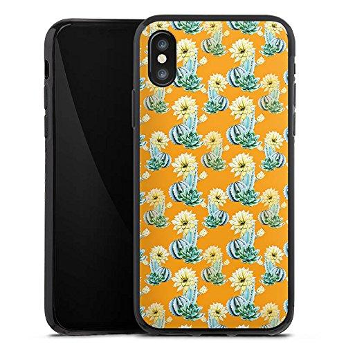 Apple iPhone X Silikon Hülle Case Schutzhülle Kaktus Muster Blume Silikon Case schwarz
