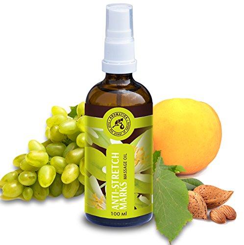 Massageöl 100ml - Stretch Mark Massage Öl mit Jojobaöl - Mandelöl & Mandarinenöl - Naturkosmetik Gegen Schwangerschaftsstreifen - Schwangerschaftspflegeöl - Hautöl - Schwangershafts - Pflegeöl -