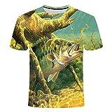 Men's 3D Animal Printed Deep Sea Fish Graphic Casual T-Shirt Crewneck Short Sleeve Novelty Cool Top Tees Tx180 S