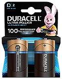 Duracell Ultra Power Batterie alcaline, Torcia, D, Confezione da 2