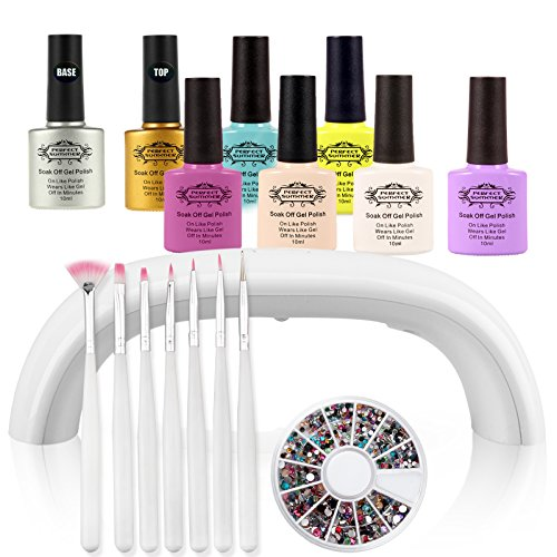 Perfect Summer Kit de Manucure 10ml 6pcs Vernis à Ongles Semi Permanent + Base et Top Coats + 7 Stylos Pinceaux + Perles Décoration + 9W Mini Lampe LED