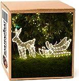 Rentier mit Schlitten 100x47cm beleuchtet 216 LED warmweiß IP44 für aussen Weihnachten