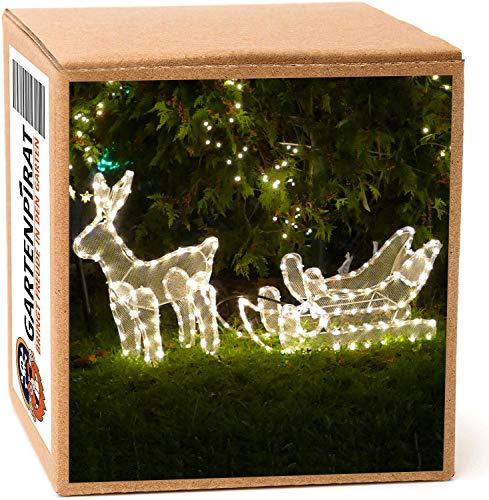 Rentier mit Schlitten 100x47cm beleuchtet 216 LED warmweiß IP44 für außen Weihnachten
