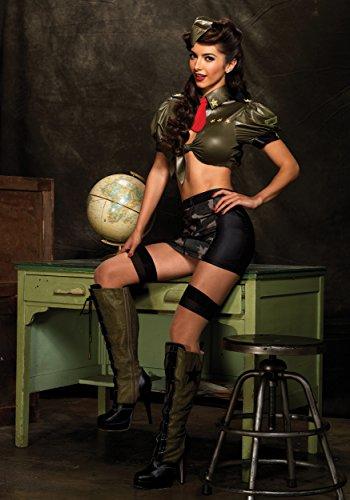 Leg Avenue - Pinup Militär Corporal Kostüm - Kadettin Army Outfit in grün mit Camouflage Rock (M/L)